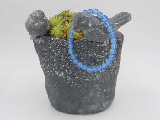bracelet élastique en agate bleue dépolie, 6 mm