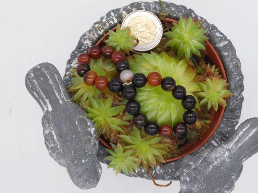 bracelet élastique en agate rubannée, 8 mm