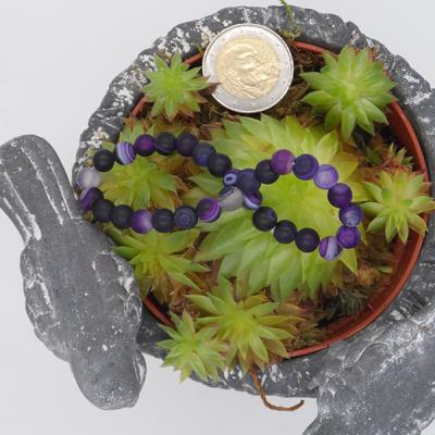 bracelet élastique en agate violette dépolie, 6 mm