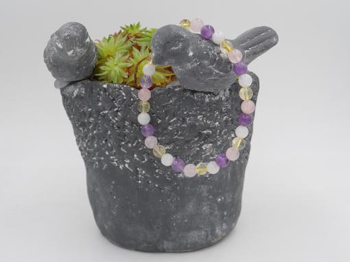 bracelet améthyste citrine pierre de lune cristal de roche