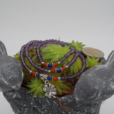 bracelet élastique 3 tours /collier en améthyste, cornaline, lapis lazuli, 6 mm avec trèfle