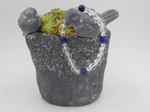 bracelet élastique en cristal de roche, lapiz lazuli 8 mm