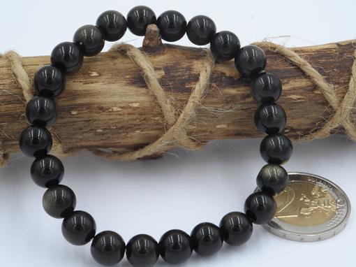 bracelet élastique en obsidienne doré 8 mm