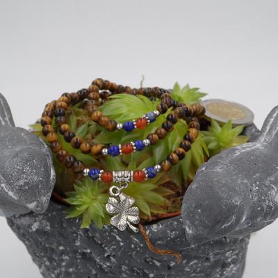 bracelet élastique 3 tours/collier 6mm, oeil de tigre, lapis lazuli, cornaline et petit trèfle
