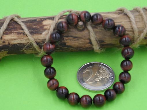 bracelet élastique en oeil de tigre rouge (oeil de faucon) 8 mm