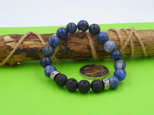 bracelet en pierre de sodalite bleue et pierre de lave 10 mm