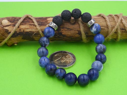 bracelet en pierre de sodalite bleue et pierre de lave 10 mmmm