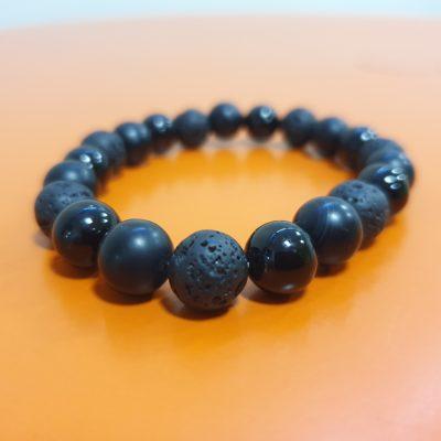 bracelet 10 mm pierre de lave tourmaline onyx