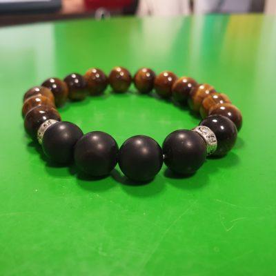 Bracelet 10 mm oeil de tigre, onyx dépoli