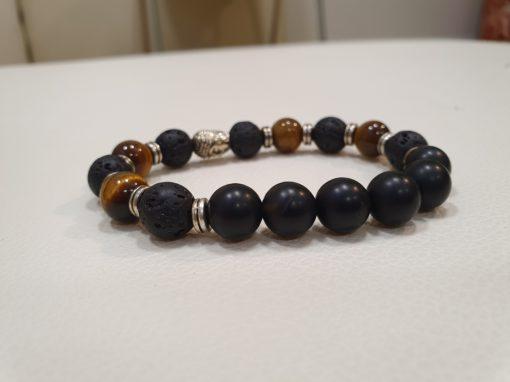 bracelet 10 mm onyx pierre de lave oeil de tigre tête de bouddha